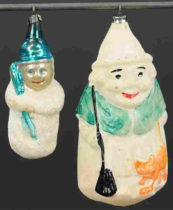 TWO BLOWN GLASS SNOWMAN ORNAMENTS