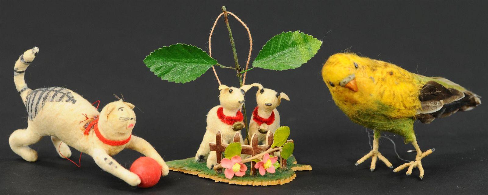 THREE WHIMSICAL COTTON CHRISTMAS TREE ORNAMENTS