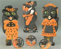 GROUPING OF SIX EMBOSSED HALLOWEEN DIECUTS
