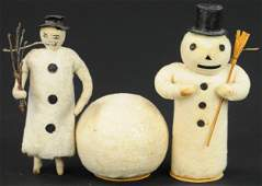 THREE SPUN COTTON CHRISTMAS FIGURES