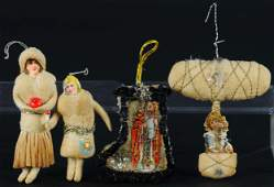 FOUR SPUN COTTON CHRISTMAS ORNAMENTS