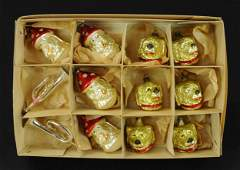BOX OF 12 HARD TO FIND CHRISTMAS ORNAMENTS