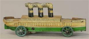 UNUSUAL LARGE WIND-UP SHIP PENNY TOY