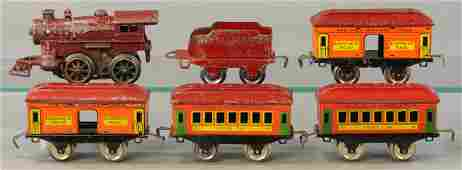 RED IVES LOCOMOTIVE  PASSENGER CARS
