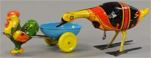 TWO BRIGHTLY LITHOGRAPHED WIND-UP TOYS