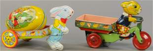 TWO CHEIN WIND-UP EASTER BUNNY TOYS