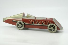 "1951: ""GONDOLA"" RACE CAR BISCUIT TIN"