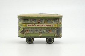 1953: SHARPS KREEMY TOFFEE TROLLEY CAR TIN