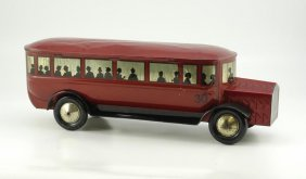 1956: LARGE BUS BISCUIT TIN CONTAINER