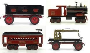 2575: KEYSTONE LOCOMOTIVE AND THREE TRAIN CARS