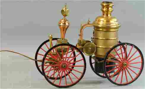 LARGE BRASS AND COPPER FIRE PUMPER MODEL