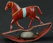 FALLOWS HORSE ON ROCKER BELL TOY