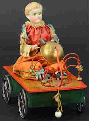 BISQUE HEAD DOLL BELL TOY