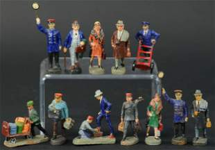 TWELVE ELASTOLIN GAUGE 1 RAILWAY FIGURES