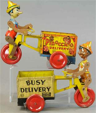MARX BUSY DELIVERY & PINOCCHIO DELIVERY CARTS