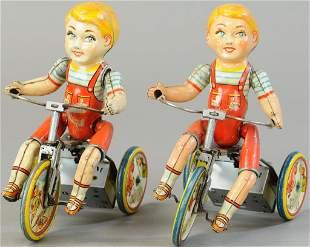 TWO UNIQUE ART KIDDIE CYCLIST TOYS
