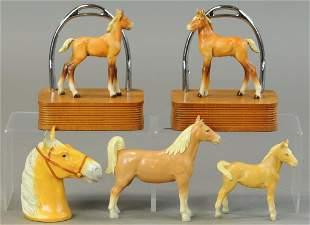 GROUPING OF METAL HORSE NOVELTIES