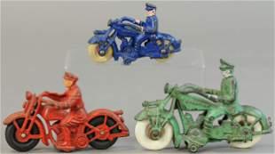 THREE CAST IRON MOTORCYCLES VARIETIES