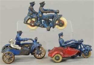 THREE SMALL CAST IRON CYCLES
