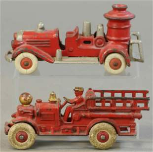 TWO SMALL FIRE ENGINE TOYS - AHRENS FOX