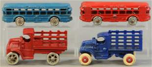 FOUR SMALL CAST IRON VEHICLES