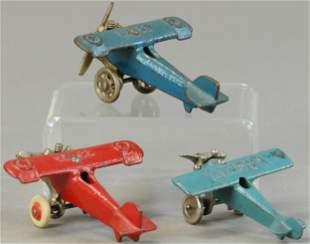 THREE SMALL CAST IRON AIRPLANES