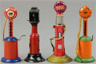 FOUR MIXED TIN PUMPS AND TRAFFIC LIGHT