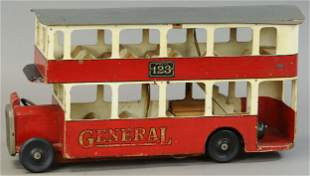 TRIANG GENERAL DOUBLE DECKER WOODEN BUS