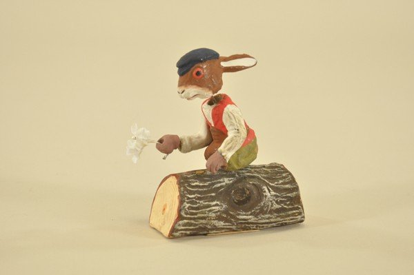 1450: WONDERFUL NODDING RABBIT ON A LOG CANDY CONTAINER