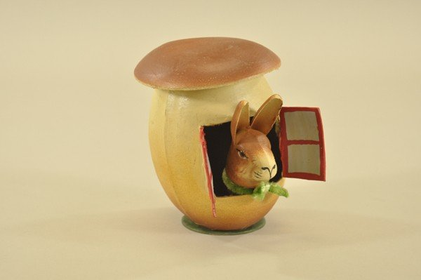 1451: BUNNY IN TOAD STOOL HOUSE CANDY CONTAINER