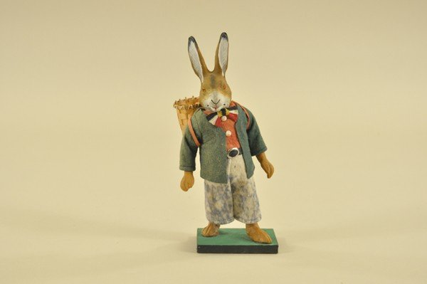 1454: BOW-TIE RABBIT CARRYING BASKET CANDY CONTAINER