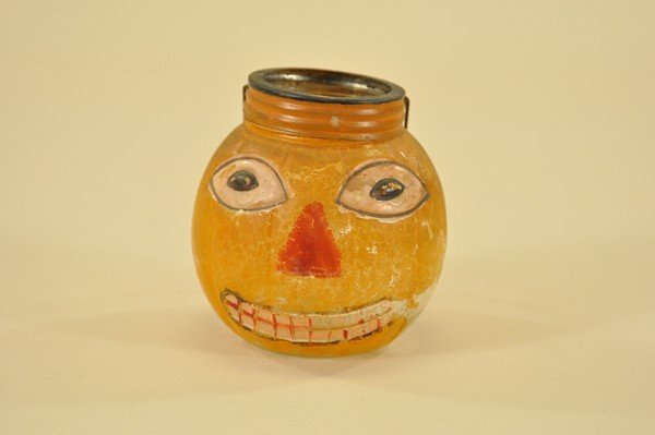1567: EARLY HALLOWEEN GLASS CANDY CONTAINER