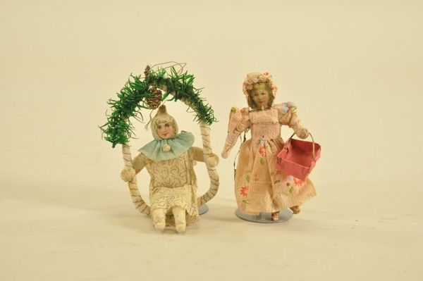 1826: LOT OF TWO PRESSED COTTON & CREPE PAPER ORNAMENTS
