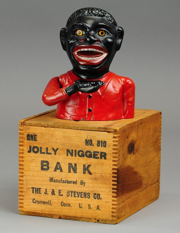 432: JOLLY 'N MECHANICAL BANK - BLUE BOW TIE