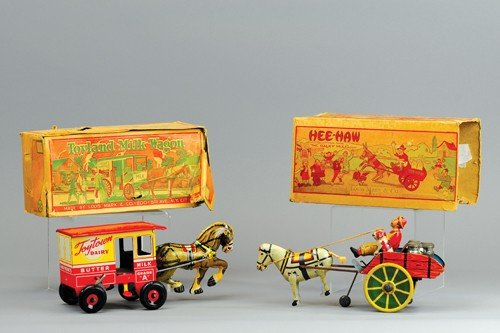 "MARX ""HEE-HAW"" WAGON AND TOY TOWN DAIRY WAGON"
