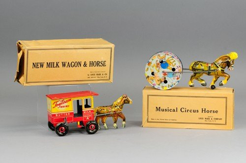 MARX TOY TOWN DAIRY WAGON AND CIRCUS HORSE