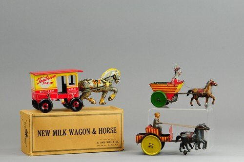GROUPING OF MARX HORSE DRAWN WAGONS