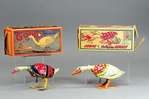 LOT OF TWO TIN GOOSE TOYS