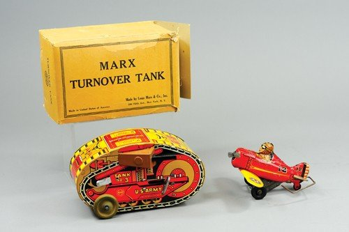 MARX ROLLOVER TANK AND AIRPLANE