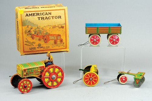 """MARX BOXED """"AMERICAN"""" TRACTOR SET"""