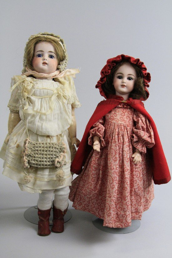13: LOT OF TWO GERMAN BISQUE HEAD DOLLS