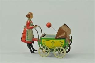 1377: KELLERMAN NANNY PUSHING BABY IN CARRIAGE