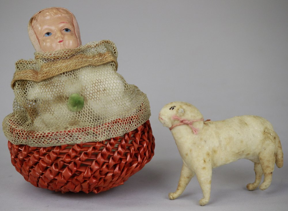 2034: CELLULOID GIRL FACE CANDY CONTAINER & COTTON LAMB