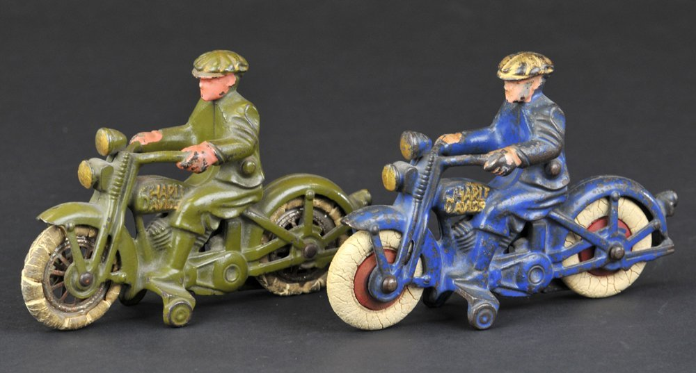 LOT OF TWO HUBLEY HARLEY DAVIDSON MOTORCYCLES WITH CIVI