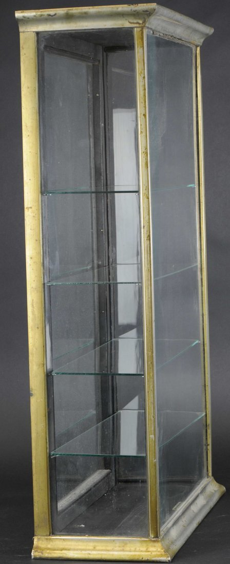 TALL NICKEL PLATE FOUR-SHELF DISPLAY CASE