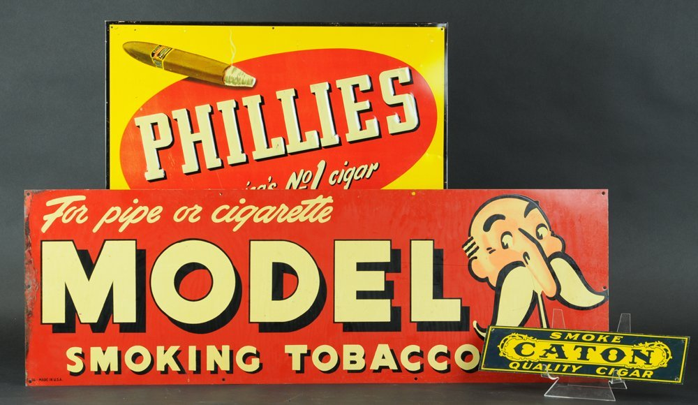 THREE TOBACCO ADVERTISING SIGNS