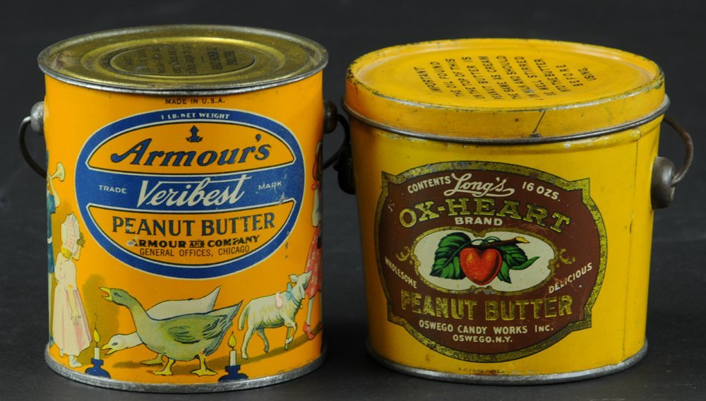 TWO BAIL HANDLE PEANUT BUTTER TINS