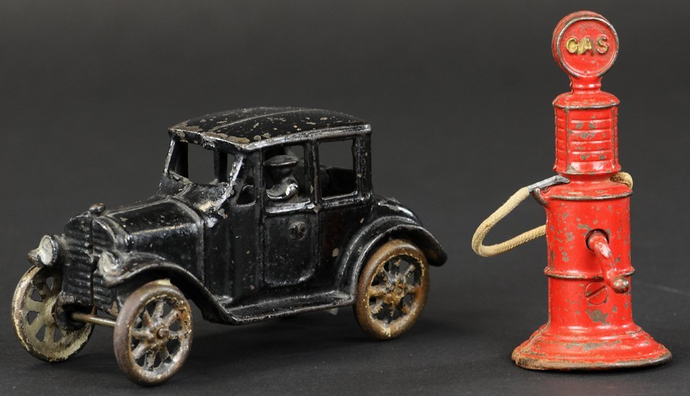 FRIEDAG COUPE AND RED GAS PUMP