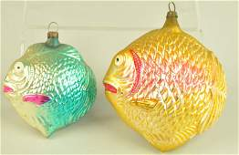 TWO BLOWN GLASS FISH ORNAMENTS