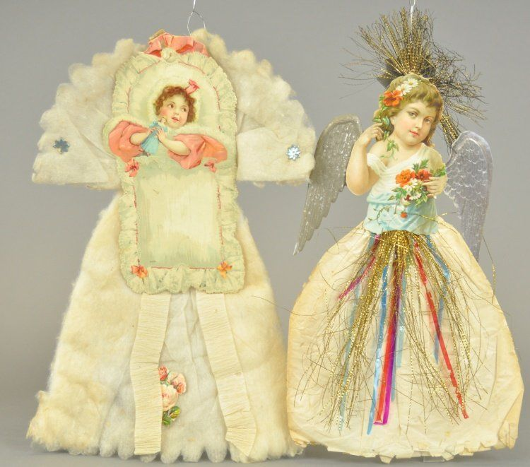 TWO COTTON SCRAP CHRISTMAS ORNAMENTS